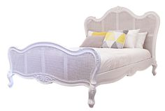 This beautifully designed queen sized Parisian Bed is available in a range of finishes and sizes to suit your individual needs. Inspired by French Provincial styling, this bed will add elegance to any bedroom.   It's made in Mahogany timber and Rattan  Finishes available: Distressed white, Plain White, Distressed Black, Plain Black and Weathered Oak.