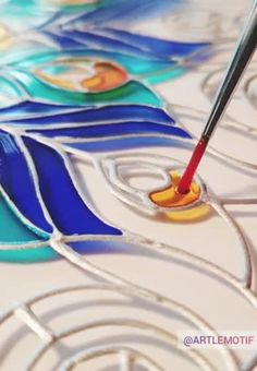 Stained Glass Paint, Stained Glass Crafts, Stained Glass Designs, Stained Glass Patterns, Making Stained Glass, Glass Painting Patterns, Glass Painting Designs, Paint Designs, Painted Patterns