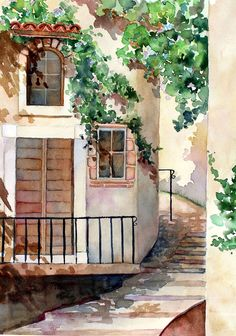 a watercolor by Paula Wadsworth original for sale Easy Watercolor, Abstract Watercolor, Watercolor Illustration, Watercolour Painting, Watercolors, Watercolor Architecture, Watercolor Landscape, Art And Architecture, Watercolor Techniques