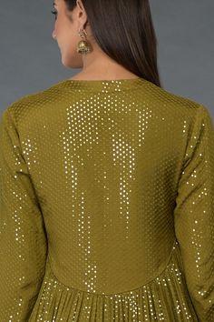 Mehandi Green-Gold Sequin Embroidered Kurta Set Kurti Neck Designs, Dress Neck Designs, Kurta Designs Women, Kurti Designs Party Wear, Designer Dress For Men, Indian Designer Outfits, Designer Dresses, Pakistani Formal Dresses, Pakistani Dress Design
