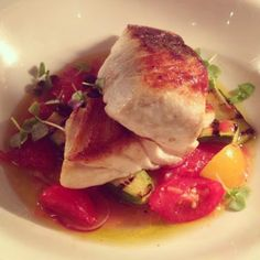 #newmenuitems Snapper fillet roasted with confit tomatoes, charred baby zucchini & basil Kingsleys Steak & Crabhouse #wooloomooloo #sydney Check out http://www.kingsleys.com.au/ to see what's on!