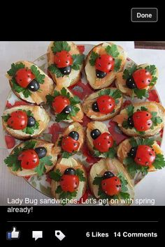 Lady Bugs sandwiches! French bread, cherry tomatoes and capers or chives, over cream cheese and smoked salmon or lox. Festive and delish!