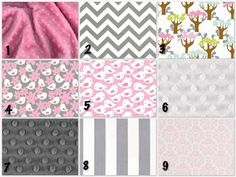 Pinks, greys, birds? Custom Crib Bedding - 2 piece Set,Get Together in  pink, white and gray