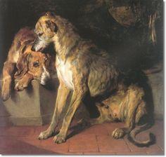 landseer paintings | Edwin Landseer - Deerhound & Foxhound by Sir Edwin Landseer | Painting