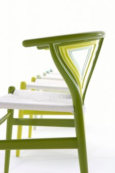 Hans Wegner Wishbone Chairs in Citrus ColorsMade by Carl Hansen in DenmarkClick…