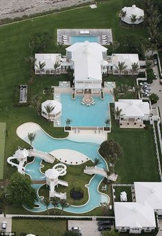 Aerial view of Celine Dion's Jupiter Island House complete with a waterpark.  It can be yours for a mere seventy two and a half million.