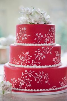 red and white winter cake