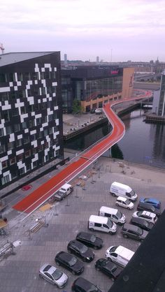 View of Copenhagen from the Cykelslangen (Bicycle Snake) by Dissing+Weitling Architects. Click image for full profile and visit the slowottawa.ca boards: http://www.pinterest.com/slowottawa/