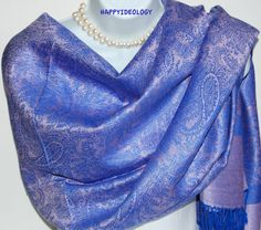 Purple Pashmina Scarf.Purple and Blue by HappyIdeology on Etsy