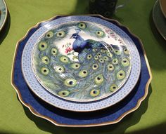 Mottahedeh peacock dessert plate