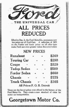 Vintage Cars Model T Ford Prices in 1925 - a little before my time. Old Advertisements, Car Advertising, Car Ford, Ford Trucks, Autos Ford, Old Gas Stations, Ford Lincoln Mercury, Ford Classic Cars, Classic Cars