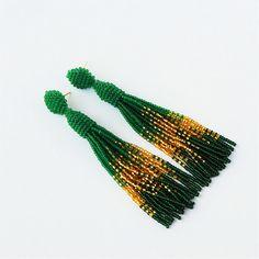 Oscar de la renta Green earrings Tassel earrings Long earrings