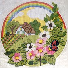 Rainbow Cottage Flower Garden Butterfly Cabin Needlepoint Stitchery Kit 12x12 #SunsetDesigns