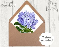Envelope liner template Blue Hydrangea floral Wedding envelope liners to print at home - 9 sizes Printable JPG Instant Download Blue Hydrangea Wedding, Floral Wedding Envelopes, Envelope Liners, Printable, Templates, Handmade, Etsy, Stencils, Hand Made