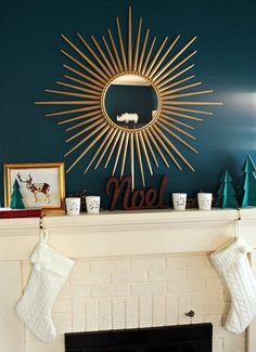 """Houzzers Deck the Mantels - living room """"My wall color already makes a (loud) statement, so I try to keep my mantel clean and refined while still being festive. Teal Living Rooms, Living Room Designs, Living Room Decor, Teal Accent Walls, Teal Walls, Christmas Fireplace, Fireplace Mantels, Painted Fireplaces, Fireplace Ideas"""