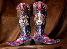 """""""Dogs Are People Too"""" Boots by Jacqi Bling. Custom Swarovski Cowgirl Boots. www.jacqiblingstyle.com"""