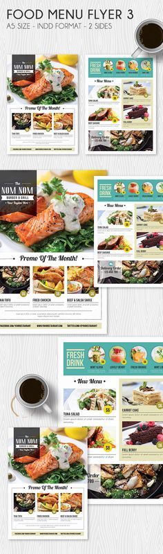 It is a food menu flyer for your restaurant, cafe etc menu promotion purposes. Available on Indd format, all you need to do is just put image, change the text and put your logo. You can easily change the colour too. If you like it and find it useful click on the link provided. :)