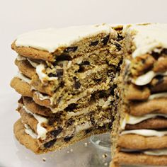 Giant Chocolate Chip Cookie Cake with cream Cheese Frosting