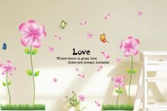 Wall Decals - YYone Tall Flowers with Pink Leaves and Butterflies DIY Wall Decal Sticker Home Decor Flower Mural