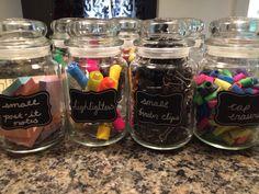 Empty Yankee Candle jars repurposed.