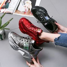 [leggycozy] Women's Casual Glitter Sequined Platform Chunky Sneakers Chunky Shoes, Chunky Sneakers, Sneakers For Sale, Air Max Sneakers, Sneakers Women, Casual Boots, Women's Casual, Kawaii Shoes, Sneaker Brands