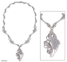 Hand Made Sterling Silver Art Nouveau Necklace - Angel Wings   NOVICA