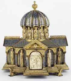 A medieval tabernacle from Cologne:          Base of tabernacle with metal underside removed, revealing an attribution note from 1855  This object, made around 1180 A.D.