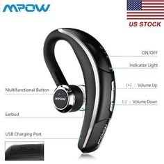 ﹩20.15. Mpow Wireless Bluetooth 4.1 Stereo Headset Earphone Headphone for Samsung iPhone    Compatible Wireless Technology - Bluetooth, Earpiece - Single, Earpiece Design - Earbud (In Ear), Fit Design - In-Ear Only, Features - Built-In Microphone, Color - Black, Bluetooth Version - V4.1, Standby Time - Standby Time, Talk Time - up to 6 Hours, Playing Time - up to 5.5 Hours, UPC - Does not apply, Connector(s) - Not Applicable