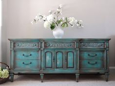 Hand Painted French Country Cottage Chic Shabby Distressed Aqua / Turquoise Teal Blue Buffet Credenza on Etsy