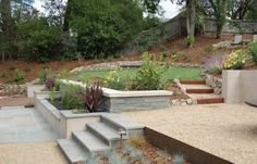 Stairs with rustic metal treads and gravel or DG between