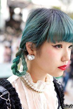 Blue-green Braided Hair, Japanese street fashion