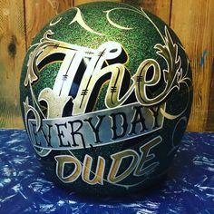 Vintage Kustom helmet, hand painted, gold & silver leaf. Cheekyairbrushing.com.au