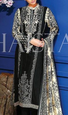 Buy Black/Cream Printed Viscose Linen A-line Dress by Shaista 2015