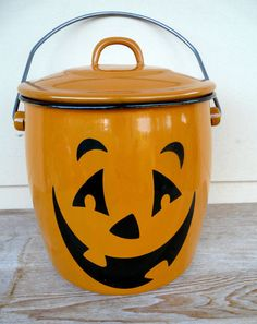 Hallmark Halloween Jack O Lantern Metal Enamel Pail Bucket Orange Black
