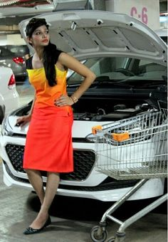"""Real Girl #2 Sakshi Darda, 22, MBA student -""""This is all so exciting, I love bright colors!"""" Flaming in The sunset top and skirt.  #theRealGirlProject #real #women #fashionable #powerful #stylish"""