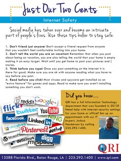 Social Media Internet safety #QRI www.qri.com