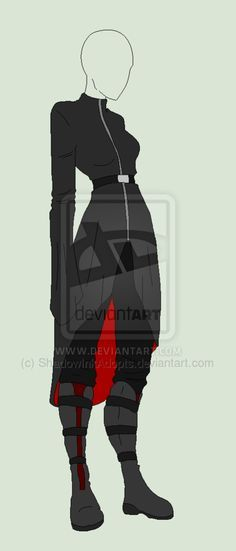 Outfit Adopt - She In The Black Coat - SOLD by ShadowInkAdopts.deviantart.com on @deviantART