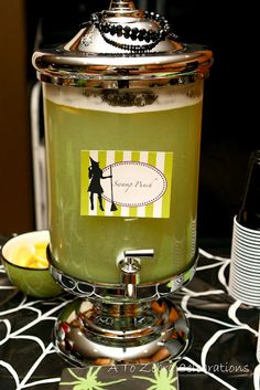 {Halloween} swamp punch (pictured: vodka, lime sherbet and sprite)