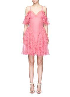 ALEXANDER MCQUEEN Ruffled Silk Open Knit Cold Shoulder Dress. #alexandermcqueen #cloth #dress