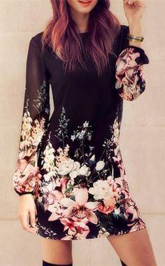 Stylish Women's Round Collar Long Sleeve Chiffon Floral Dress