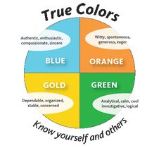 True Colors™ is a model for understanding yourself and others based on your personality temperament. The colors of Orange, Green, Blue and Gold are used to differentiate the four central personalit…