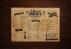 Mexican Food Menu Placemat template