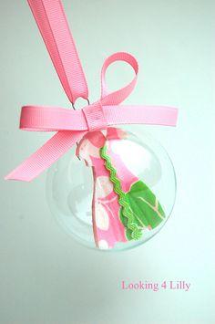Christmas Ornament Lilly Pulitzer Fabric Pink Preppy Ornament Sorority. via Etsy!!!!