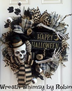 Primitive Halloween Skeleton Black & Tan Deco Mesh Wreath, Skeleton Decor, Fall Wreath, Halloween Decor, XL Rustic Skeleton Wreath by WreathWhimsybyRobin on Etsy