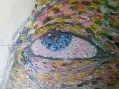 La lingua può nascondere la verità, ma gli occhi mai!!! cit.-Michail Bulgakov (particolare occhio volto della donna)olio su tela