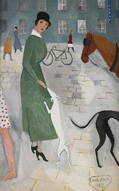Einar Jolin (Swedish, 1890–1976), Promenaden, 1917. Oil on canvas, 116 x 73 cm.