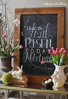 Easter Vignette and Chalkboard