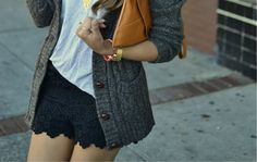 Lace shorts + sweater cardigans.