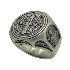Saint st Benedict Sterling Silver 925 Mens Ring Size US grams Exorcism Sign Of The Cross, Mens Ring Sizes, Coin Ring, Signet Ring, Ring Necklace, Handmade Silver, Jewelery, Men's Jewelry, Saints