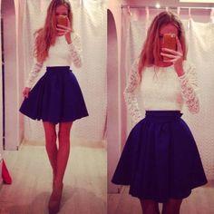 Back Hollow Lace High Waist Short Dress